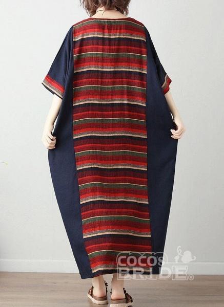 Green Plus Size Tunic Color Block Round Neckline Casual Midi Plus Dress_3