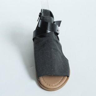 Women's Buckle Zipper High Top Flat Heel Sandals_7
