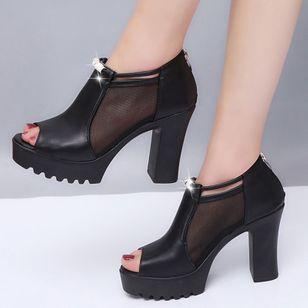 Women's Mesh Zipper Peep Toe Chunky Heel Sandals_1