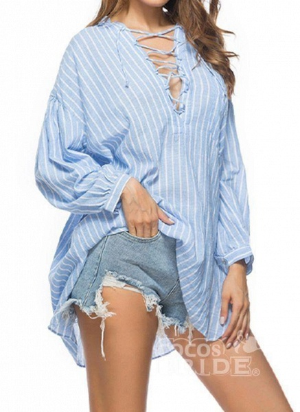 Blue Plus Size Tunic Stripe V-Neckline Casual Above Knee Plus Dress_2