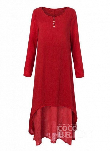 Red Casual Solid Tunic Round Neckline Shift Dress_2