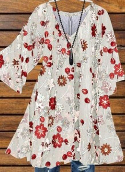 White Plus Size Floral V-Neckline Casual Above Knee X-line Dress Plus Dress_1