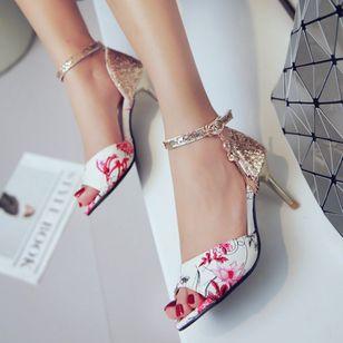 Women's Beading Buckle Heels Leatherette Stiletto Heel Sandals_5