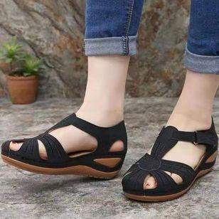 Women's Round Toe Wedge Heel Sandals_2