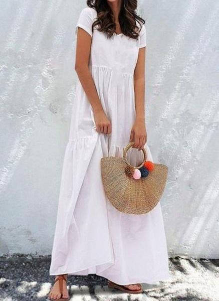 White Plus Size Tunic Solid V-Neckline Casual Maxi Plus Dress_1