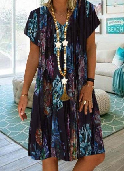 Black Plus Size Tunic Floral V-Neckline Casual Knee-Length Plus Dress_2