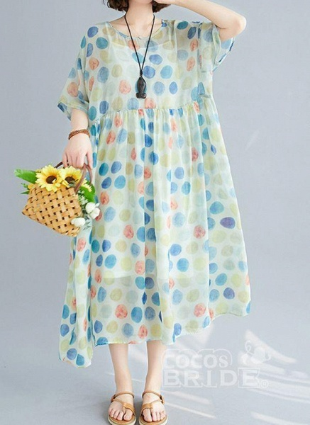 Multicolor Plus Size Tunic Polka Dot Round Neckline Casual Wrap Plus Dress_7