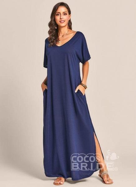 Royal Blue Plus Size Solid V-Neckline Casual Maxi Plus Dress_5