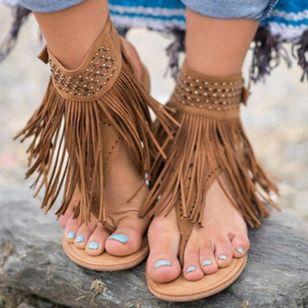 Women's Tassel Slingbacks Flip-Flops Flat Heel Sandals_2