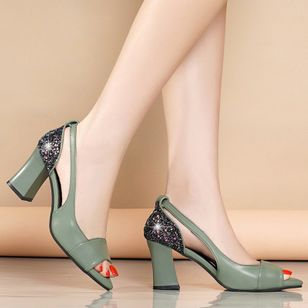 Women's Sequin Heels Spool Heel Sandals_5