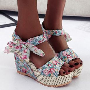 Women's Lace-up Flower Slingbacks Nubuck Wedge Heel Sandals Platforms_2