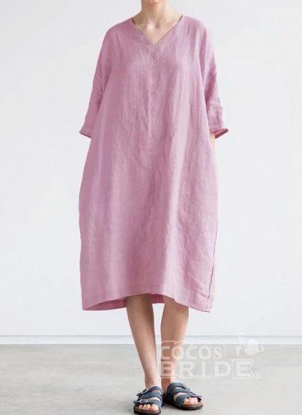 Burgundy Plus Size Solid V-Neckline Casual Midi O Dress Plus Dress_2