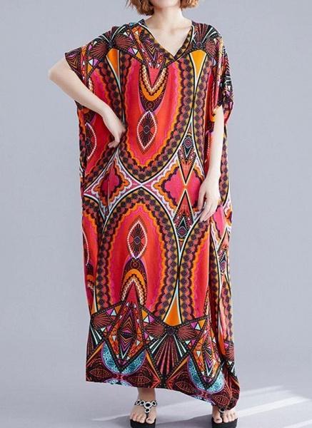 Red Plus Size Tunic Color Block V-Neckline Casual Maxi Plus Dress_1