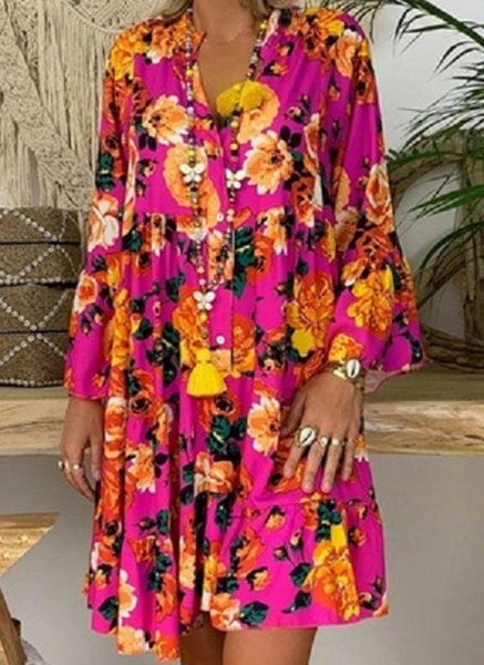 Green Plus Size Tunic Floral V-Neckline Casual Above Knee Plus Dress_3