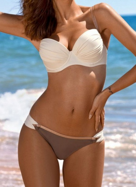 Polyester Solid Bikinis Swimwear_2