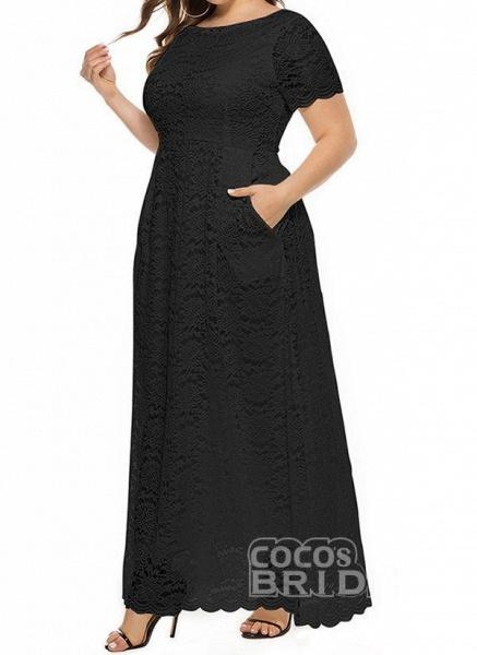 Off-white Plus Size Solid Round Neckline Casual Lace Pockets Maxi Plus Dress_5