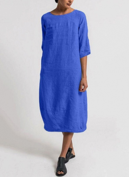Dark Blue Plus Size Solid Boat Neckline Basic Midi O Dress Plus Dress_1