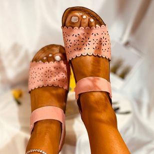 Women's Hollow-out Slingbacks Cloth Wedge Heel Sandals_3