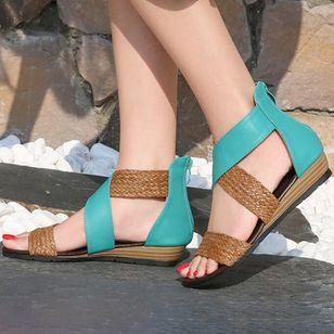 Women's Braided Strap Split Joint Heels Wedge Heel Sandals_3