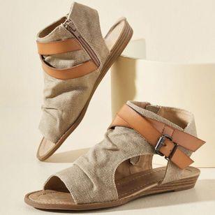 Women's Buckle Zipper High Top Flat Heel Sandals_6