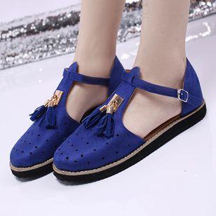 Women's Buckle Tassel Flats Flat Heel Sandals_5