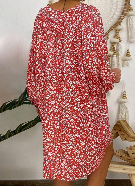 Red Plus Size Tunic Floral V-Neckline Casual Above Knee Plus Dress_1