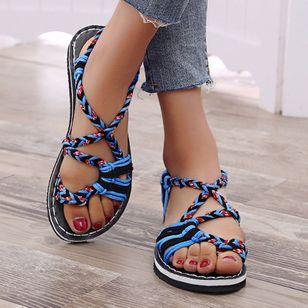 Women's Knit Toe Ring Nubuck Flat Heel Sandals_2