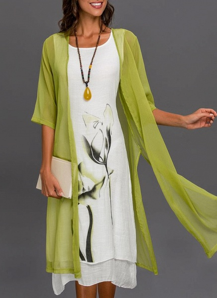 Floral Wrap Round Neckline Midi X-line Dress_20