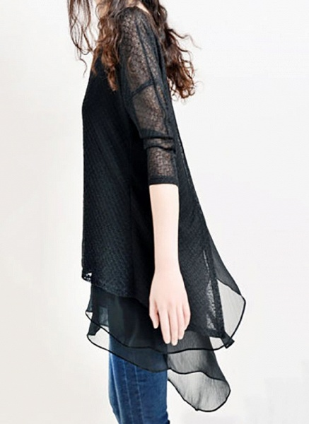 Casual Solid Hollow Out Round Neckline A-line Dress_3