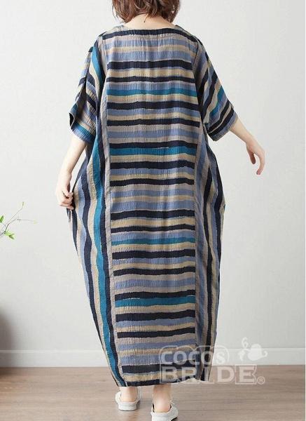 Green Plus Size Tunic Color Block Round Neckline Casual Midi Plus Dress_2