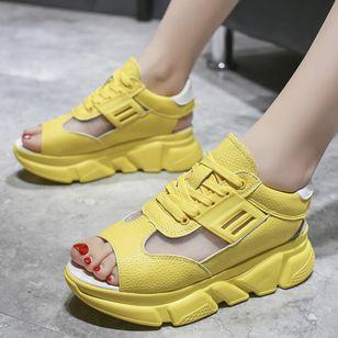 Women's Lace-up Split Joint Flats Flat Heel Sandals_2