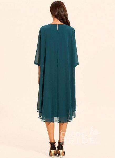 Plus Size Floral Round Neckline Elegant Midi Shift Dress Plus Dress_4