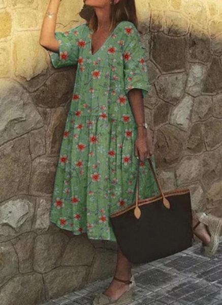 Casual Floral Tunic V-Neckline A-line Dress_2