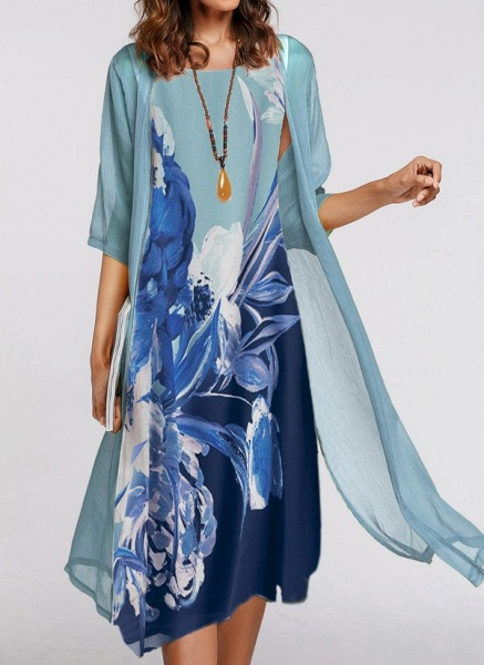 Casual Floral Wrap Tunic A-line Dress_1