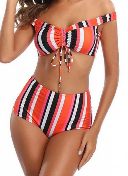 Polyester Off the Shoulder Color Block Bikinis Swimwear_3