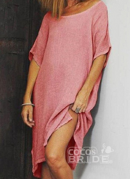 Watermelon Plus Size Tunic Solid Round Neckline Casual Knee-Length Plus Dress_3
