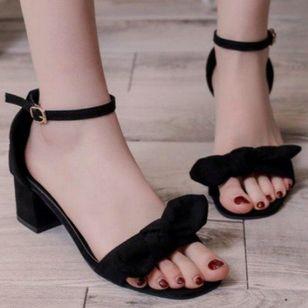 Women's Bowknot Buckle Heels Chunky Heel Sandals_2