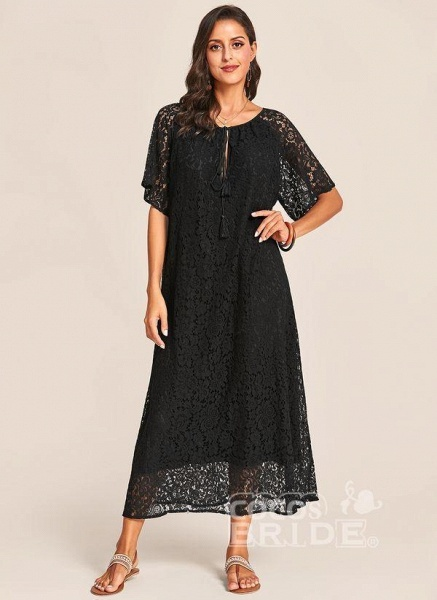 Black Plus Size Tunic Solid V-Neckline Casual Lace Plus Dress_5
