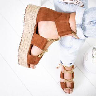 Women's Lace-up Round Toe Flat Heel Sandals Platforms_3