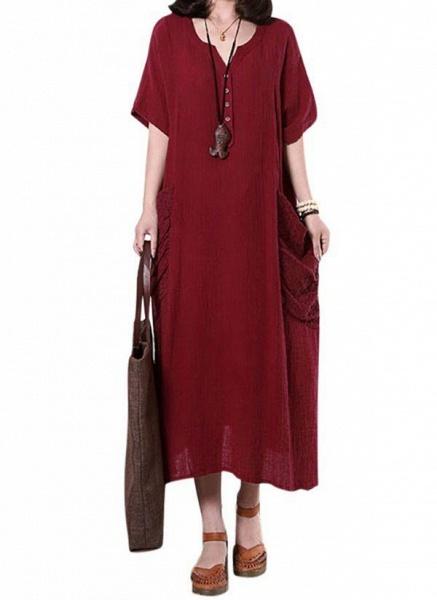 Dark Blue Plus Size Solid Casual Pockets Maxi Shift Dress Plus Dress_12