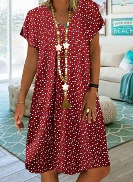 Purple Plus Size Tunic Geometric V-Neckline Casual Knee-Length Plus Dress_3