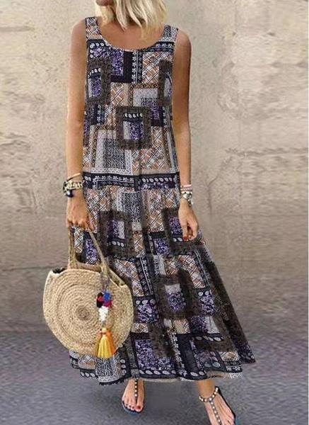 Khaki Plus Size Tunic Color Block Round Neckline Casual Maxi Plus Dress_1
