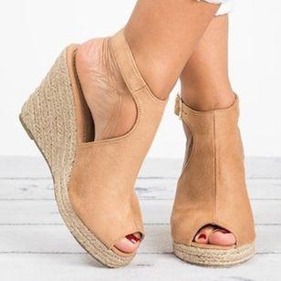 Women's Buckle Peep Toe Heels Nubuck Wedge Heel Sandals_5