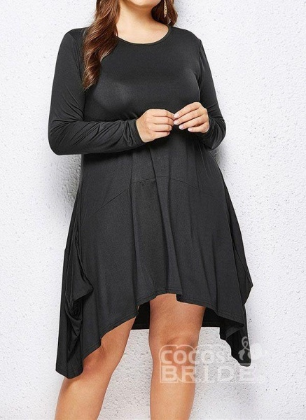 Military Green Plus Size Skater Solid Round Neckline Casual Above Knee Plus Dress_13