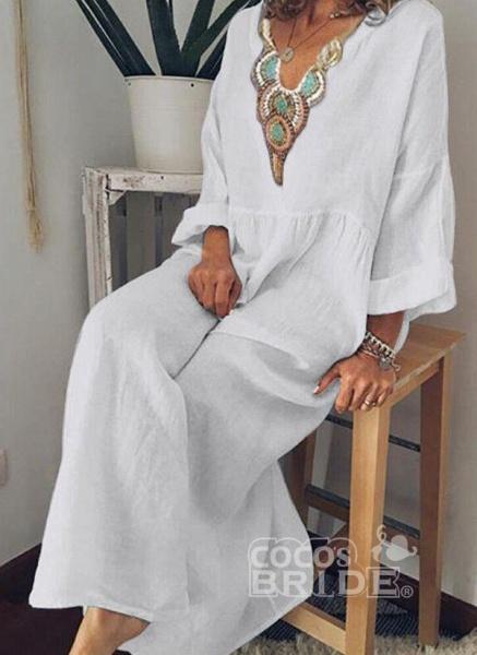 Sky Blue Arabian Floral Tunic V-Neckline Shift Dress_3