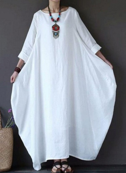 White Plus Size Tunic Solid Round Neckline Casual Maxi Plus Dress_1