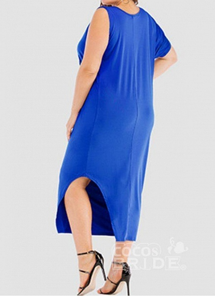 Khaki Plus Size Tunic Solid Round Neckline Casual Elegant Midi Plus Dress_4