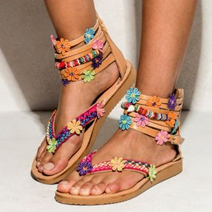 Women's Applique Zipper Flip-Flops Flat Heel Sandals_2
