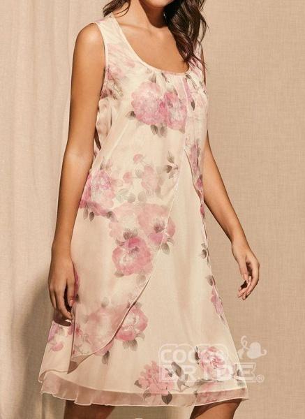 Apricot Plus Size Tunic Floral Square Neckline Basic Knee-Length Plus Dress_3