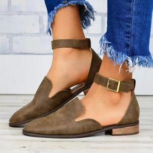 Women's Buckle Closed Toe Low Heel Sandals_3